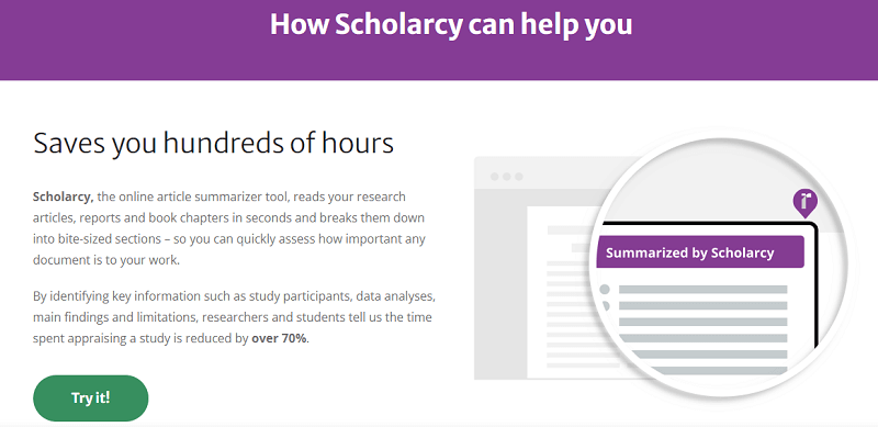 scholarcy research paper summarizer