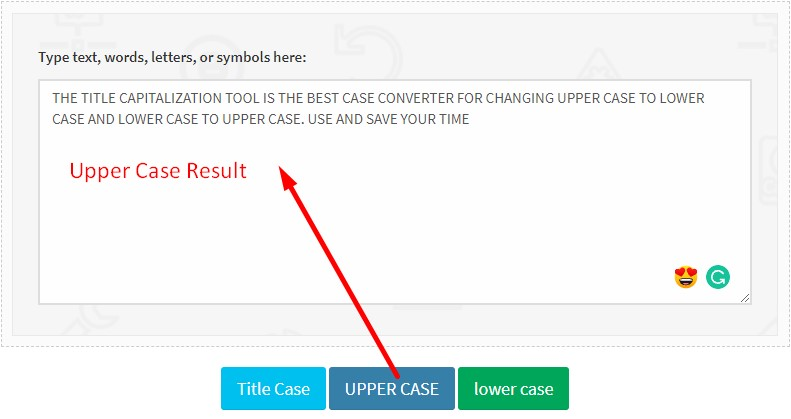 Change Lowercase to Uppercase